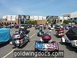 Many, many Goldwings in the lot - lots of trikes!