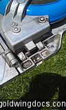 Close up of wheel hinge assembly
