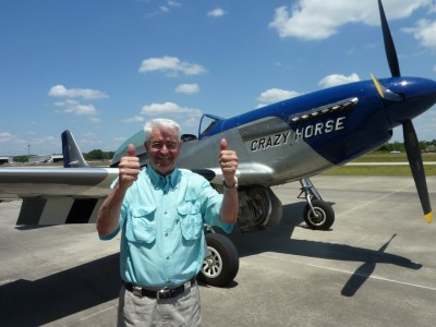 My dad after landing the P-51 Mustang