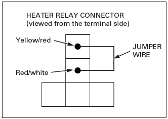 measure the voltage between the following terminals (+) and ground (–)   connection: front seat heater: white/black (+) – ground (–) rear seat heater: