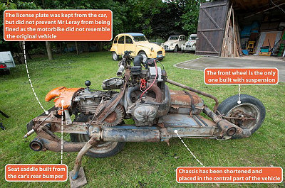 Motorcycle made from 2CV
