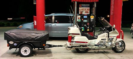 GL1500 and Trailer at Gas Pump
