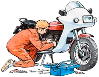 Owner Repairing Motorcycle